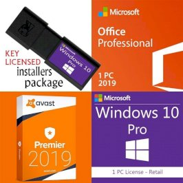 Windows 10 + Office Pro Plus 2019 + Avast Prem Usb